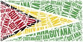National Flag Of Guyana. Word Cloud Illustration.