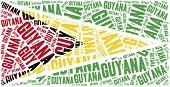 National Flag Of Guyana. Word Cloud Illustration.