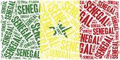 National Flag Of Senegal. Word Cloud Illustration.