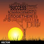 Vector concept or conceptual black business text word cloud on sunset sky and grass background