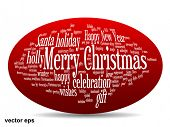 Vector concept or conceptual 3D oval or ellipse Merry Christmas holiday or Happy New Year winter abstract text word cloud on red background
