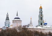 Sergiev Posad. Snow-covered Domes Of Holy Trinity-sergius Lavra In Winter