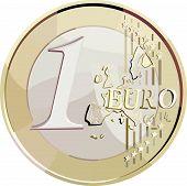 Vector 1 euro coin.