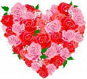Valentine rose heart shape