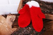 Firewood with Christmas mittens on white wall background