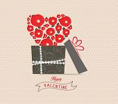 Valentine's Day love greeting card with rose heart gift