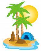 Tent on island
