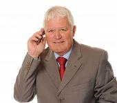 Successful Mature Businessman Using Phone
