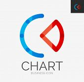Minimal line design logo, business chart, graph icon, branding emblem