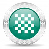 chess green icon, christmas button