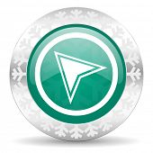 navigation green icon, christmas button