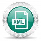 xml file green icon, christmas button
