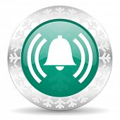 alarm green icon, christmas button, alert sign, bell symbol