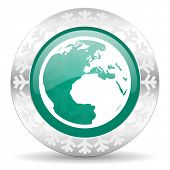 earth green icon, christmas button, world sign