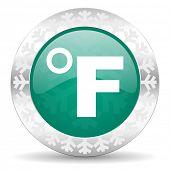 fahrenheit green icon, christmas button, temperature unit sign