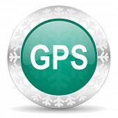 gps green icon, christmas button