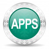 apps green icon, christmas button