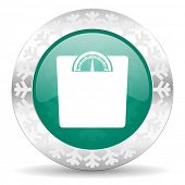 weight green icon, christmas button