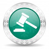 auction green icon, christmas button, court sign, verdict symbol