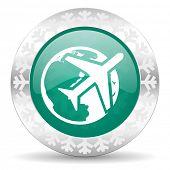 travel green icon, christmas button