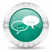 forum green icon, christmas button, chat symbol, bubble sign