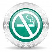 no smoking green icon, christmas button