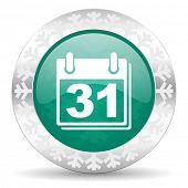 calendar green icon, christmas button, organizer sign, agenda symbol