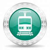 train green icon, christmas button, public transport sign