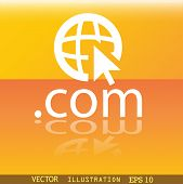 Domain Com Icon Symbol Flat Modern Web Design With Reflection And Space For Your Text. Vector