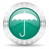 umbrella green icon, christmas button, protection sign