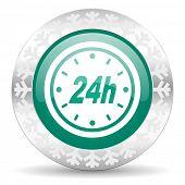 24h green icon, christmas button