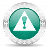 exclamation sign green icon, christmas button, warning sign, alert symbol