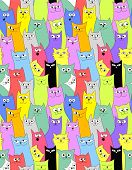 Cats. Seamless funny background