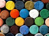 Colored Dry Pastel Crayons Closely.