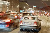 Moscow, Russia, December, 26, 2014: the plentiful snow, which dropped out the day before, led to emergence of multikilometer traffic jams on roads
