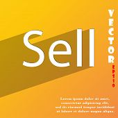 Sell Icon Symbol Flat Modern Web Design With Long Shadow And Space For Your Text. Vector