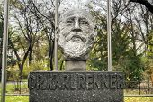 image of politician  - Monument to Karl Renner next to the Austrian Parliament on Ringstrasse Vienna Austria - JPG