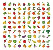 Food. Fruit and vegetables. Set of colored icons