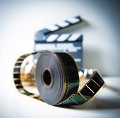 35Mm Movie Reel With Out Of Focus Clapper In Background