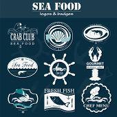 foto of food logo  - Set of vintage sea food logos - JPG