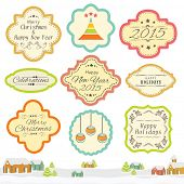 Vintage sticker, label or tag for Merry Christmas and Happy New Year celebration.