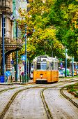 Old Tram At The Street Of Budapest