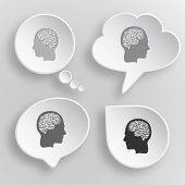 Human brain. White flat vector buttons on gray background.