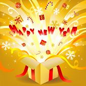 Magic new year box, vectro illustration for greeting card or banner