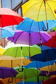 pic of serbia  - street decoration with colorful open umbrellas at old part of Belgrade Serbia - JPG
