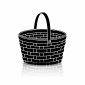 Silhouette Straw Basket With A Handle And Reflection