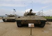 Israel made main battle tanks Merkava Mark III (L) and Mark II (R) on display at Armored Corp Museum