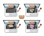 Laptop. Casino game. A collection of colored icons