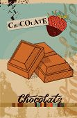 Vintage Chocolate poster design. Chocolate pieces. Vector illustration