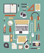 Vector Set Of Equipments For Design. Designer Gadgets For Creativity. Flat Style Design